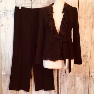 DKNY Brown Wool Pantsuit Silk Ruffles Italy 8/ 10